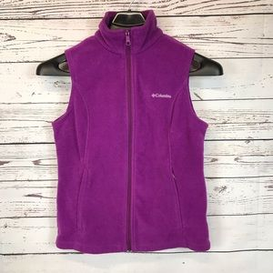 Columbia Fleece Zippered Vest Purple M